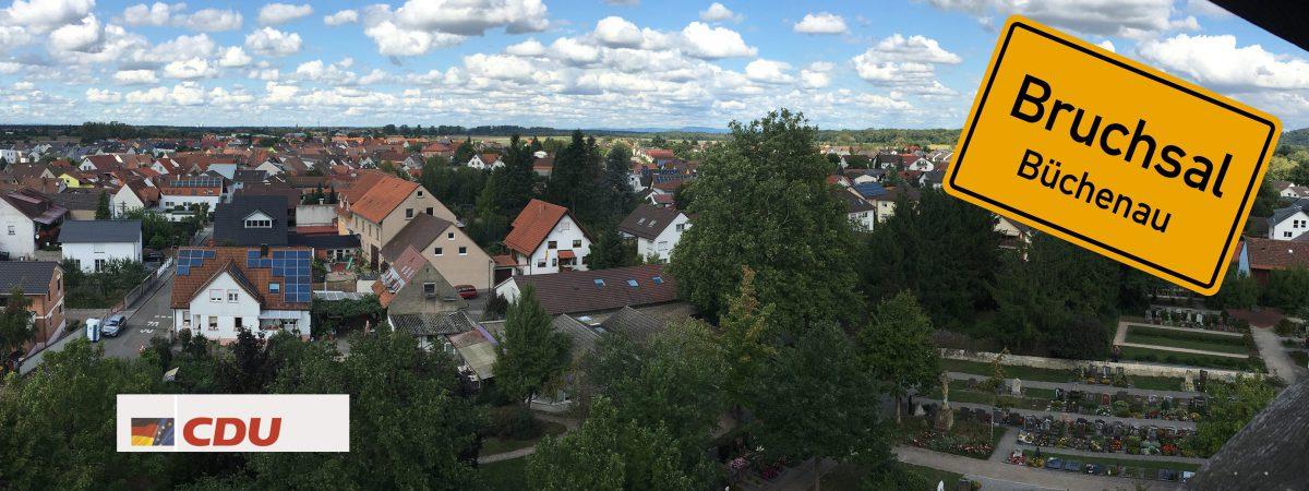 Blick auf Büchenau vom Kirchturm aus gesehen